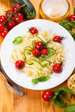 Tagliatelle with vegetables Royalty Free Stock Photography