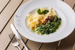 Tagliatelle vegetarian Pasta Dish with spinach and dried tomatoes decorated with basil. Delicious lunch with pasta and stock images