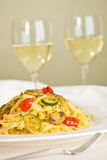 Tagliatelle and white wine Royalty Free Stock Photo