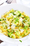 Tagliatelle With Baby Zucchini Royalty Free Stock Photos