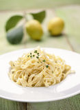 Tagliatelles with lemon Stock Photo