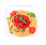 Tagliatelli pasta with tomatoes Royalty Free Stock Photo