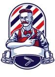 Tagliatore della tenuta dell'uomo del barbiere royalty illustrazione gratis
