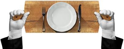 Tagliere con il piatto e la coltelleria Fotografia Stock