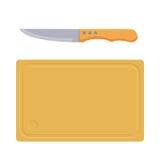 Tagliere con l'icona del coltello Fotografia Stock