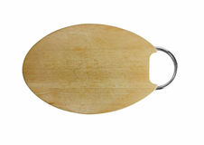 Tagliere di legno isolato su fondo bianco Fotografia Stock