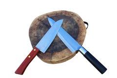 Tagliere e coltello di legno Immagini Stock Libere da Diritti