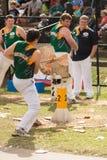 Taglierina di legno australiana Blake Marsh ad Adelaide Show reale, settembre 2014 Fotografie Stock