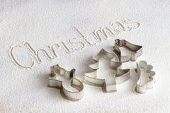 Taglierine del biscotto di Natale Fotografia Stock