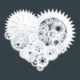 Taglio bianco della carta del cuore dell'ingranaggio Immagine Stock