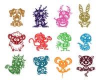 Taglio cinese della carta degli animali Fotografia Stock Libera da Diritti