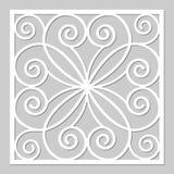 Taglio decorativo del laser del pannello Comitato di legno Fiore geometrico elegante moderno del modello 1:1 di rapporto Fotografie Stock Libere da Diritti