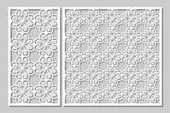 Taglio decorativo stabilito del laser dei pannelli Comitato di legno Modello elegante moderno dei cuori 1:2 di rapporto, 1:1 Immagine Stock Libera da Diritti