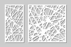 Taglio decorativo stabilito del laser del pannello Comitato di legno Modello astratto geometrico moderno elegante 1:2 di rapporto Fotografie Stock
