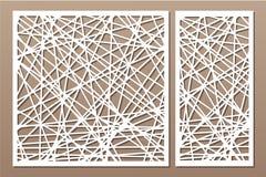 Taglio decorativo stabilito del laser del pannello Comitato di legno Modello astratto geometrico moderno elegante 1:2 di rapporto Fotografia Stock