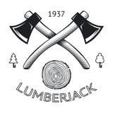 Taglio degli anelli di Logo Symbol Hatchet Axe Wood del boscaiolo Immagini Stock