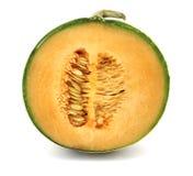 Taglio del melone del cantalupo Fotografia Stock
