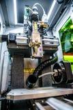 Taglio del metallo, tecnologia industriale moderna del laser di CNC Fotografia Stock