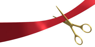 Taglio del nastro rosso Immagine Stock Libera da Diritti