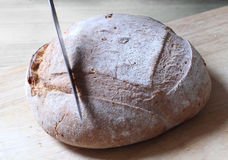 Taglio del pane fresco Immagine Stock