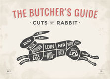Taglio dell'insieme della carne Diagramma del macellaio del manifesto, schema - coniglio royalty illustrazione gratis