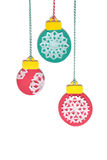 Taglio della carta degli ornamenti della palla di Natale Fotografie Stock Libere da Diritti