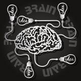 Taglio della carta del cervello e delle lampadine Fotografie Stock Libere da Diritti