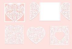 Taglio della carta del cuore di vettore Cuore bianco fatto di carta Vettore del taglio del laser Fotografia Stock