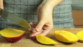 Taglio della ricetta del dolce del crêpe del mango stock footage