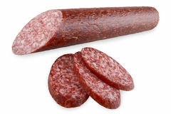 Taglio della salsiccia Fotografia Stock