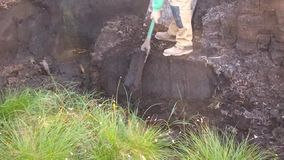 Taglio della torba del tappeto erboso con la vanga in Moss Bog in Irlanda archivi video