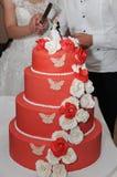 Taglio della torta di cerimonia nuziale Immagini Stock