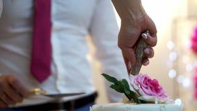 Taglio della torta di cerimonia nuziale video d archivio
