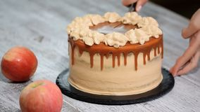 Taglio della torta di mele con le spezie, cannella, mele secche, caramello cremoso nello stile di autunno video d archivio