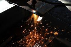 Taglio di gas della lamina di metallo Fotografie Stock