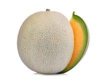 Taglio di tutto dei meloni giapponesi, del melone arancio o del melone del cantalupo Fotografie Stock Libere da Diritti