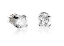 Taglio Diamond Stud Earrings del cuscino fotografie stock