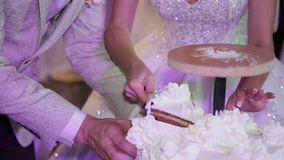 Taglio la sposa e dello sposo bianchi della torta nunziale archivi video