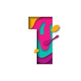 Taglio numero uno della carta 1 lettera Multi effetto realistico del papercut di strati 3D illustrazione vettoriale