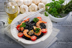 tagliolini καλαμαριών ζυμαρικών μ&epsilon Στοκ Εικόνα