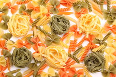 Tagliolini on a background of different pasta Stock Photos