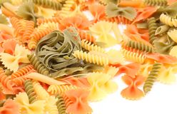 Tagliolini on a background of different pasta Stock Images