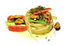 Tagliolini with mussels royalty free stock photography