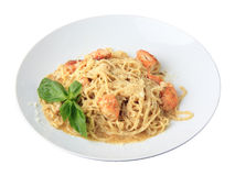 Tagliolini with pesto and shrimps - side view Royalty Free Stock Photos