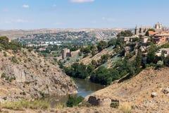 Tago del fiume a Toledo, Spagna Immagini Stock Libere da Diritti