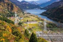 Tagokura sjö Atumn på Fukushima i Japan Fotografering för Bildbyråer