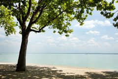Tagore promenade, the beautiful promenade in Balatonfured. The Balaton Lake seen from Balatonfured shore. Lake Balaton  is a freshwater lake in Transdanubian Stock Photo