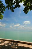 Tagore promenade, the beautiful promenade in Balatonfured. The Balaton Lake seen from Balatonfured shore. Lake Balaton  is a freshwater lake in Transdanubian Royalty Free Stock Images