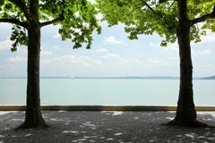 Tagore promenade, the beautiful promenade in Balatonfured. The Balaton Lake seen from Balatonfured shore. Lake Balaton  is a freshwater lake in Transdanubian Stock Photos
