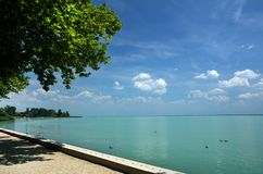 Tagore promenade, the beautiful promenade in Balatonfured. The Balaton Lake seen from Balatonfured shore. Lake Balaton  is a freshwater lake in Transdanubian Royalty Free Stock Image